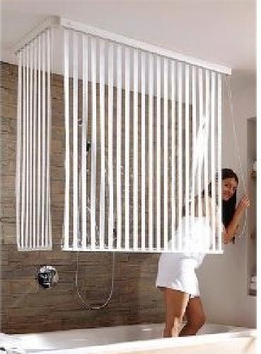 eck duschrollo incl 2 rollos streifen weiss u 2 alu. Black Bedroom Furniture Sets. Home Design Ideas