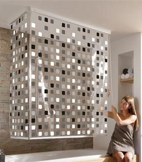 eck duschrollo incl 2 rollos mosaik grau u 2 alu. Black Bedroom Furniture Sets. Home Design Ideas